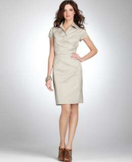 NEW ANN TAYLOR COTTON WRAP SHIRT DRESS NWT 00 $138 BEIGE