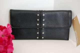 NWT Michael Kors Astor Black Flat Continental Leather Studded Clutch