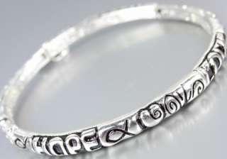 INSPIRATIONAL Thin Dainty Silver HOPE FAITH LOVE Filigree Heart Charm