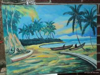 VINTAGE Tropical Island Hawaii ? Palm TREES Ocean Original Oil Signed