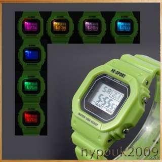 AK Sport Green Plastic Band 7 Color LED Light Digital Mens Boys Stop