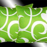 2X LIME GREEN THROW PILLOW CASES CUSHION COVERS 16.5
