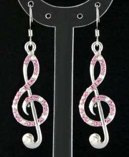 E52B Shiny Treble Clef Music Note Pink Crystal Dangle Earrings New