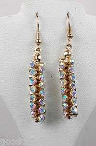 Austrian Crystal Aurora Borealis Gold Dangle Earrings 1 1/2