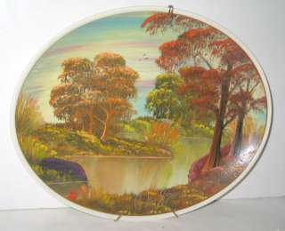 VINTAGE HP AUTUMN LAKE FALL TREES PLATE CHARGER SGND