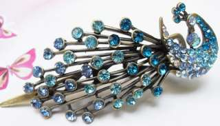 BLUE SWAROVSKI CRYSTAL BIG PEACOCK HAIR BARRETTE CLIP
