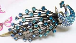 BLUE SWAROVSKI CRYSTAL BIG PEACOCK HAIR BARRETTE CLIP