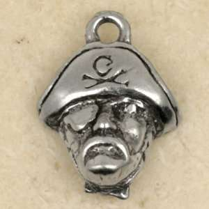 PIRATE SAILOR FACE Sterling Silver Plated Pewter Charm