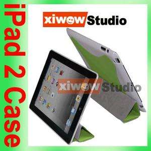 Green iPad 2 Slim Magnetic Smart Cover with Hard Case 2 Tone
