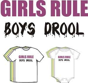 GIRLS RULE Boys Drool Funny Cute Baby T shirt Tee