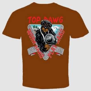 ROTTWEILER T SHIRT TOP DAWG work hard play hard S 2XL
