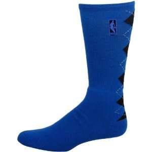 Nba Logo Argyle Crew Sock   Royal/Black Large Sports