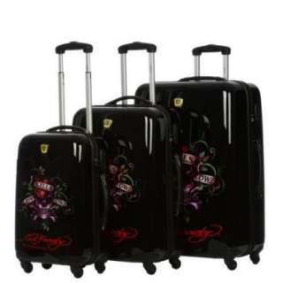 Ed Hardy Brazil Love Kills Slowly 3 Piece Spinner Luggage Set   Black