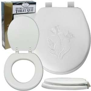 Soft Padded Toilet Seat   Embroidered White Flowers