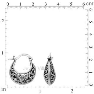 BALI HEART Genuine 925 Sterling Silver Crescent Round Hoop Earrings