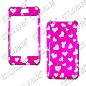 Apple iPhone 1G/2G   Glitter Hearts on Hot Pink   Hard Case
