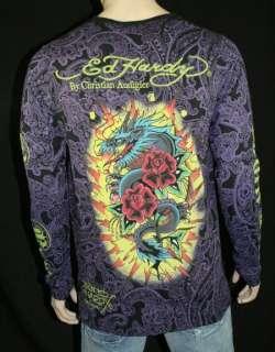 ED Hardy Mens shirt allover print DAGGER SKULL DRAGON
