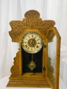 Old Antique E.Ingraham Kitchen/Gingerbread Mantel Shelf Clock Circa