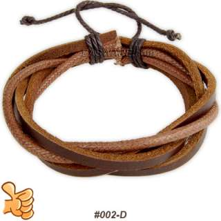 Ethnic Tibet Hemp Leather Tribal Surfer Cuff Bracelet 1