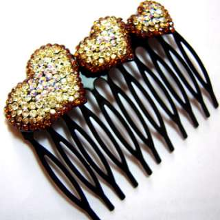 brown rhinestones crystal love hearts hair comb