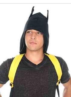 Batman Black Yellow Hood Hooded Hoodie Ears Eared Bat Logo Backpack