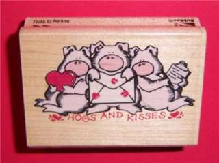 HOGS & KISSES pigs farm animal RUBBER STAMPEDE Stamp Sm