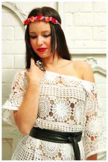 Crochet Lace A~LINE Tent BEACH Hippie WEDDING DRESS Plus M/ L/XL