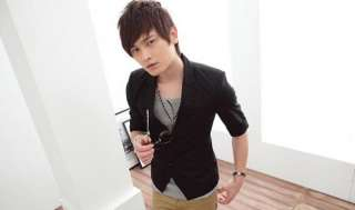 2011 NEW Mens Korea Fashion Slim Fit Shirt Black Suit Top 2803
