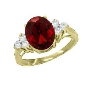 1.68 Ct 8X6 Oval Red Garnet Diamond Yellow Gold Ring