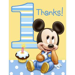 Disney Babies Mickey 1st Birthday Party THANK YOU NOTES
