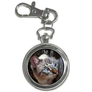 Cute Blue Eye Kitty Silver Keychain Watch