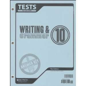 and Grammar 10 Tests Answer Key (9781591665854) BJU Press Books