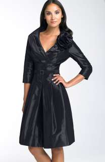 NEW TERI JON Rosette Shirtdress TAFFETA DRESS 2 BLACK
