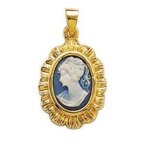 18K Gold Plated Blue Cameo Pendant Jewelry