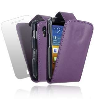 BLACK LEATHER FLIP CASE COVER & SCREEN PROTECTOR FOR VARIOUS SAMSUNG