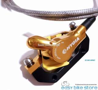 Elite Hydraulic Disc Brakes Stainless Hose 160 + 180 bike GOLD