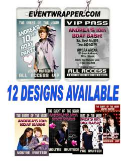 BIEBER BIRTHDAY PARTY TICKET INVITATIONS VIP PASSES AND FAVORS