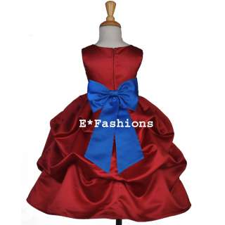 APPLE RED ROYAL BLUE PAGEANT BRIDAL FLOWER GIRL DRESS 6 9M 12 18M 2 4