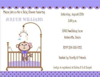 24 Sweet Baby Monkey in Crib Baby Shower Invitations