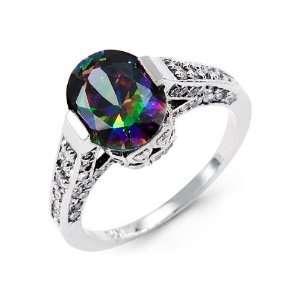 New 14k White Gold Round CZ Oval Mystic Fire Topaz Ring Jewelry