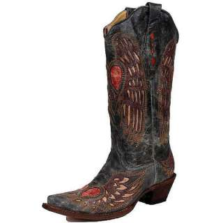 Corral Ladies Peace Sign Heart and Angel Wing Cowgirl Boots A1975