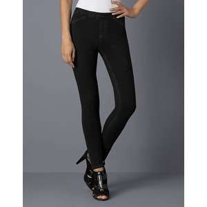 Hue Womens Hue Solid Skinny Jeanz Leggings Black Denim U11880