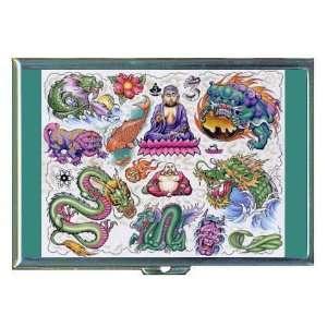 ASIAN Art Tattoo Dragon Buddha ID Holder, Cigarette Case