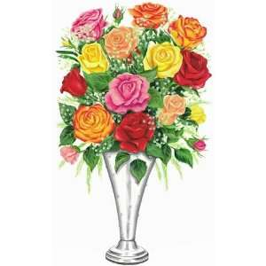Colored Roses in Vase   Tatouage Rub On Wall Transfer: Home & Kitchen