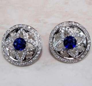 Blue Sapphire & White Topaz 925 Solid Sterling Silver Earrings