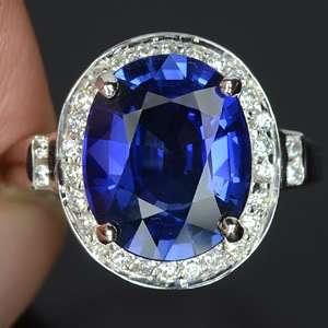 KASHMIRE BLUE SAPPHIRE & WHITE SAPPHIRE STELING SILVER 925 RING SZ 6