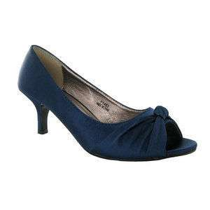 NAVY BLUE SATIN WEDDING LOW HEEL COURT SHOES SIZE 3   8