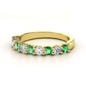 Nine Gem Band Ring, 14K Yellow Gold Ring with Emerald