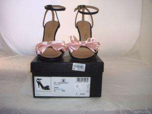 NIB AUTH CHANEL BLACK SATIN PINK BOW SANDALS SHOES 41