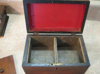 Beautiful ANTIQUE WOODEN/WOOD TEA CADDY BOX Brass Inlay